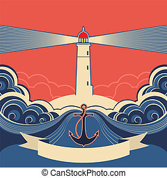 Lighthouse label with anchor and blue sea wavesVector...