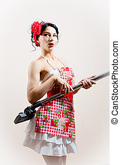 beautiful funny housewifely woman attractive pin-up girl...