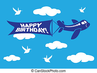 Aeroplane with birthday flying message banner. - Vector...
