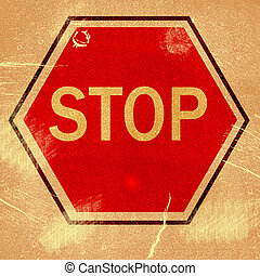 """word """" STOP """" on grunge background"""