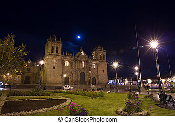 Cusco, Peru, South America, Cathedral of Santo Domingo Night...