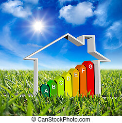 house with energy classes - on green meadow and sun in blue...