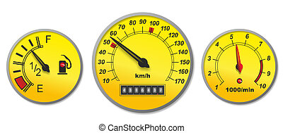fuel gauge - illustration of different indicators in a car