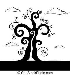 Abstract Vector Black Tree Illustration With Clouds