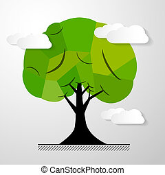 Abstract Vector Tree Isolated on White Background