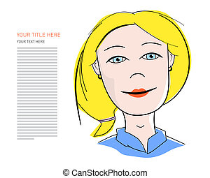 Business Woman Illustration with Sample Text