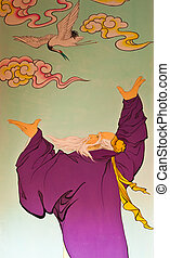 Art Chinese style painting on the wall in...
