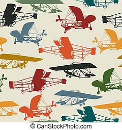 Seamless pattern with historical planes - Vintage planes...