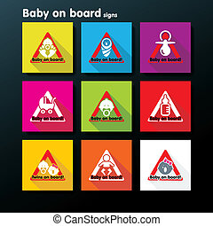 Vector flat baby on board sign set - Flat baby on board sign...