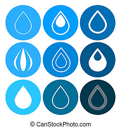 Vector Water Drops Icons Set on Blue Circles