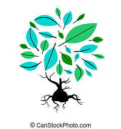 Abstract Vector Tree Illustration