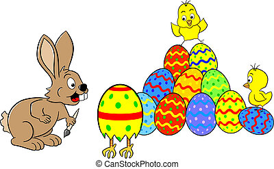 easter bunny finds a running easter egg - vector...
