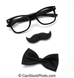 gentleman or hipster guy - a pair of glasses, a mustache and...