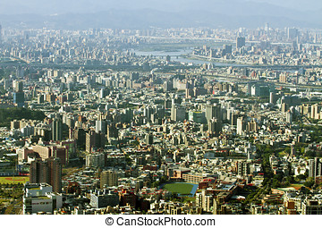 taipei city skyline view from yangming mountain