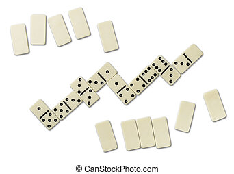 Dominoes - Top view of domino games isolated on white
