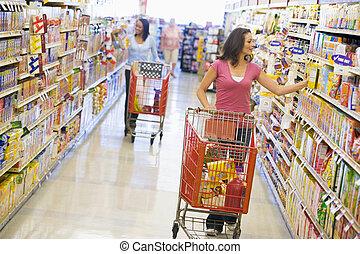 二, 婦女, 購物, 超級市場