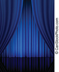 blue theatre curtain vertical - Close view of a blue curtain...