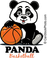 panda basketball - cute panda bear with basketball