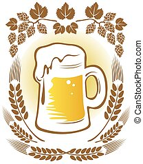 beer and hop - Beer mug and hop on a white background