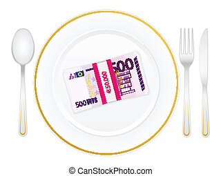 plate cutlery and five hundred euro pack