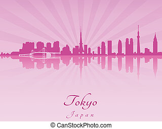 Tokyo skyline in purple radiant orchid