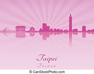 Taipei skyline in purple radiant orchid in editable vector...