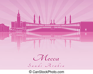 Mecca skyline in purple radiant orchid in editable vector...