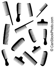 background with many black comb - white background with many...