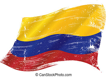 Colombian grunge flag - flag of Colombia in the wind with a...