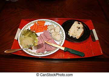 Corned Beef Cabbage meal on Platte - Beautifully arranged...