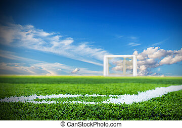Soccer field with sky background