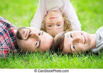 Happy family in spring