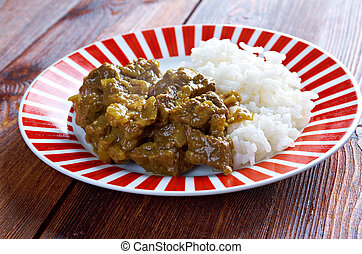 Beef Curry with Rice - Indian Beef Curry with with basmati...