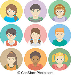Kids Avatars - Set of round flat avatars of different boys...