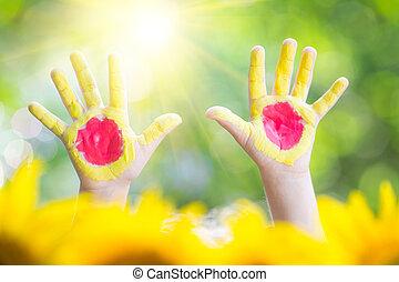 soleil, mains