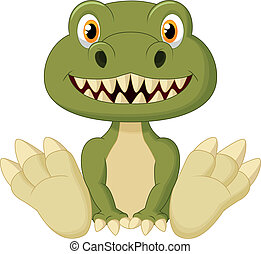 Cute baby tyrannosaurus cartoon - Vector illustration of...