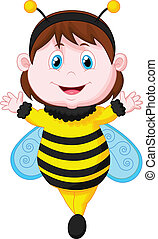 Cartoon Little girl dressed as bee - Vector illustration of...