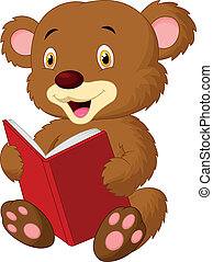 Cute bear cartoon reading - Vector illustration of Cute bear...