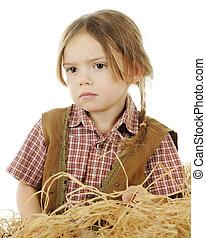 So Sad Cowgirl - Closeup portrait of a sad preschool cowgirl...