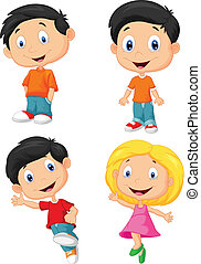 Happy children cartoon - Vector illustration of Happy...