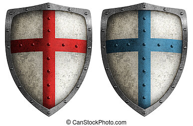 medieval crusader shield illustration isolated on white