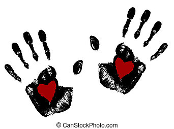 Hand print with red heart . - Imprint hands with red heart...