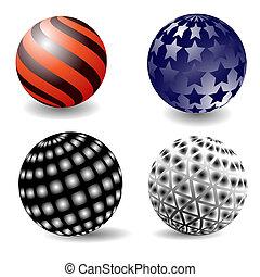 Four spheres.