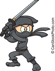 Cartoon ninja holding a sword. Vector clip art illustration...