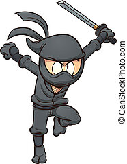 Cartoon ninja running Vector clip art illustration with...