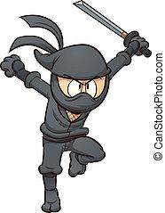Cartoon ninja running. Vector clip art illustration with...