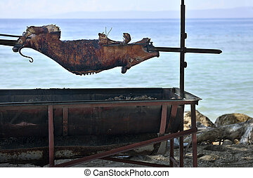 Pig Roast by the Water - A whole pig roasting over a large...