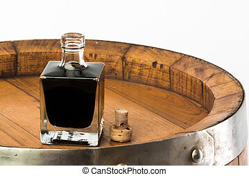 vinegar bottle - balsamic vinegar bottle isolated with a...