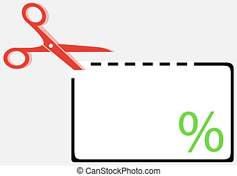 cut out coupon with scissors and percentage symbol