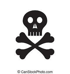 Skull - Black vector skull with crossed bones symbol...